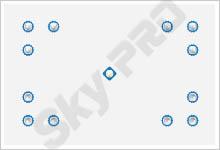 3 - Схема расположения точечных светильников на натяжном потолке