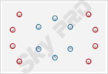31 - Схема расположения точечных светильников на натяжном потолке